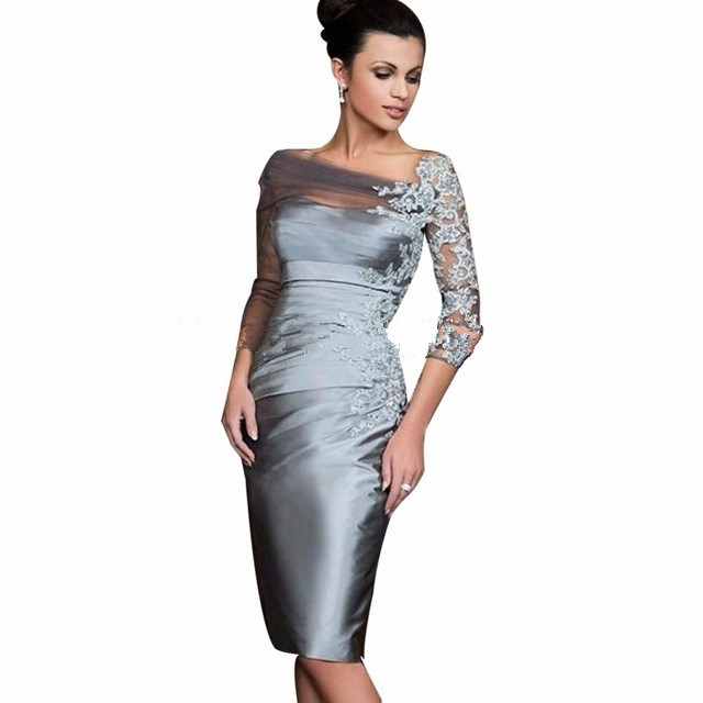 Gray 2019 Mother Of The Bride Dresses Sheath 3/4 Sleeves Knee Length Appliques Beaded Plus Size Short Mother Dresses For Wedding