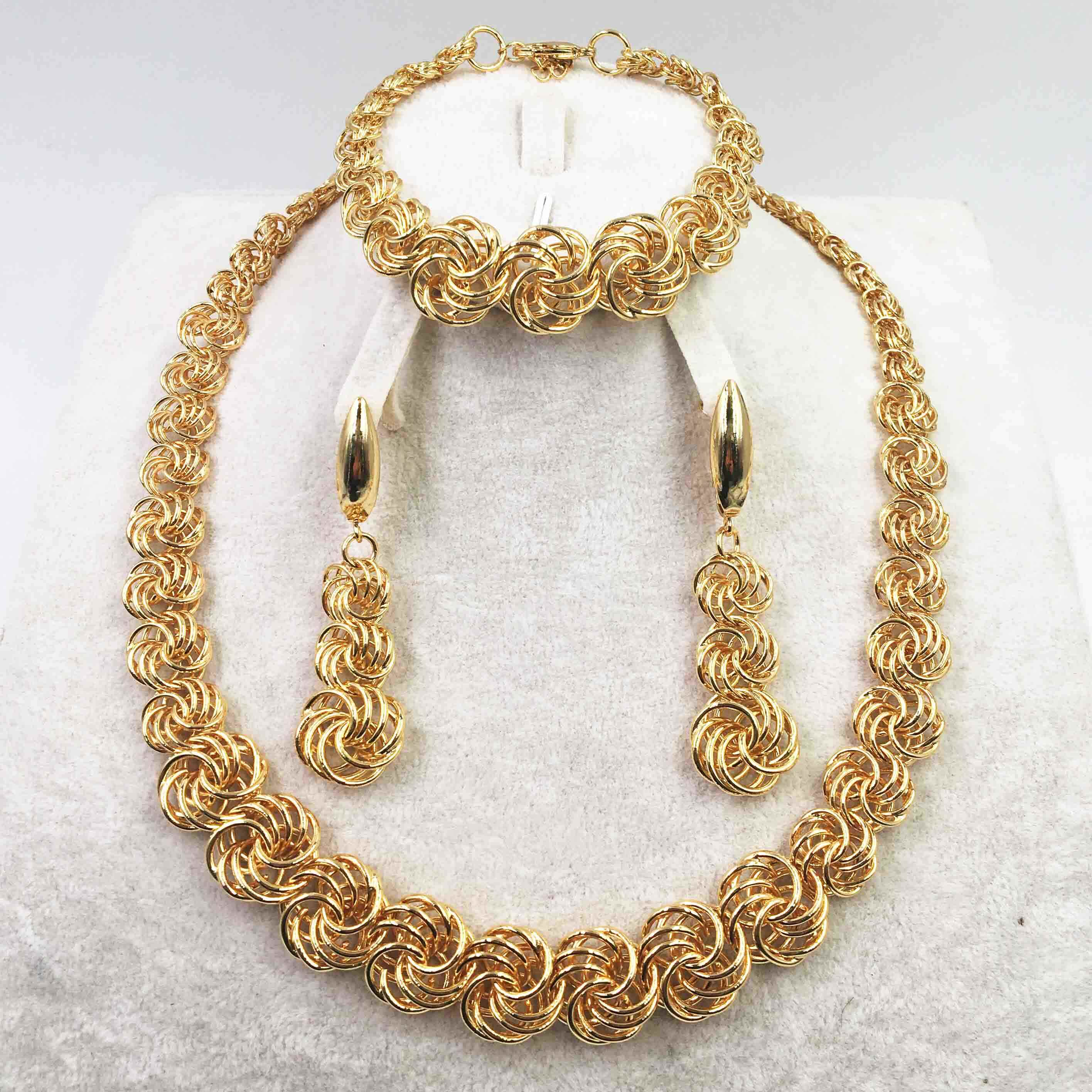זהב נשים שרשרת סטי עגיל לנשים דובאי תכשיטי סטי תכשיטי חרוזים אפריקאים סט עגילי תכשיטים חתונת סט