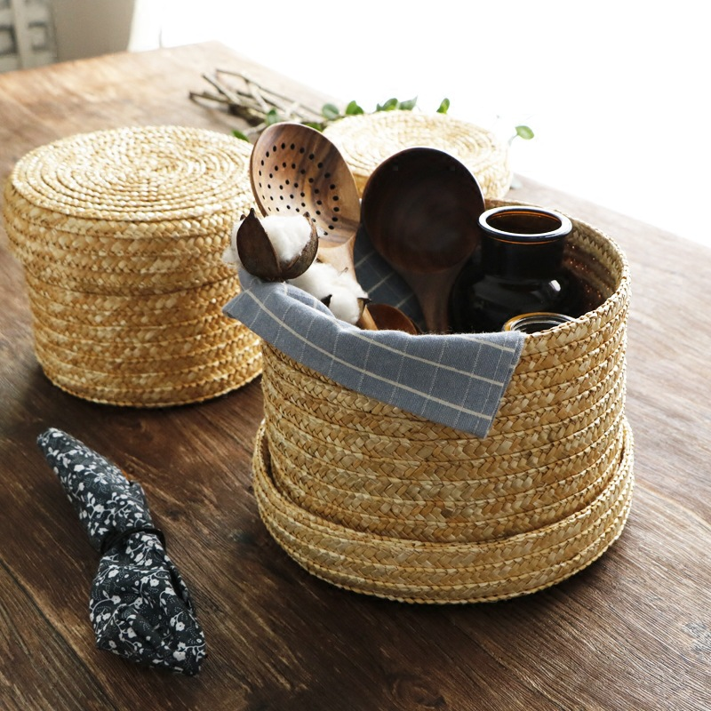 Ручная работа; Соломенная плетеная корзина для хранения с крышкой закуски, органайзер, хранилище, сумочка, коробка для белья корзины из рота...