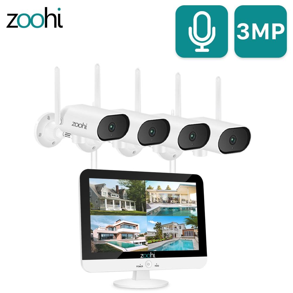 Zoohi 3MP HD Wifi панорамирование и наклон камера 13-дюйм беспроводной монитор NVR система видеонаблюдения домашняя уличная камера безопасности