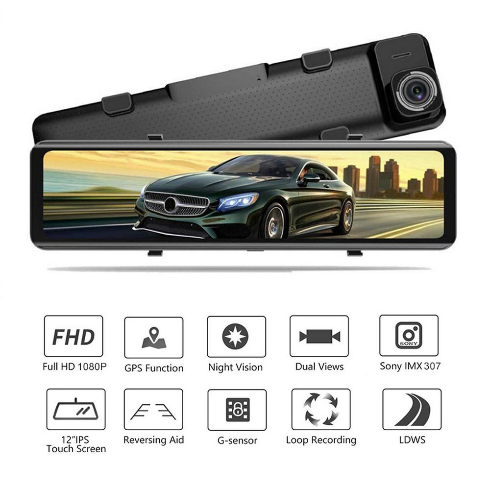 "3 Split Screen 12""4G Android 8.1 Car Rearview Mirror Camera 2+32G dual dvr ADAS WiFi BT 4.0 Dash Cam dvrs video recorder"