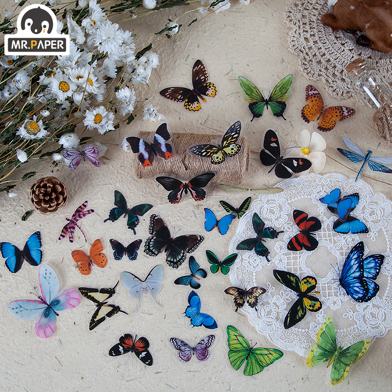 Mr.paper 8 Designs 40Pcs/lot Butterfly Deco Stickers Scrapbooking Bullet Journal Toy Plants Deco Album DIY Stationery Stickers 3