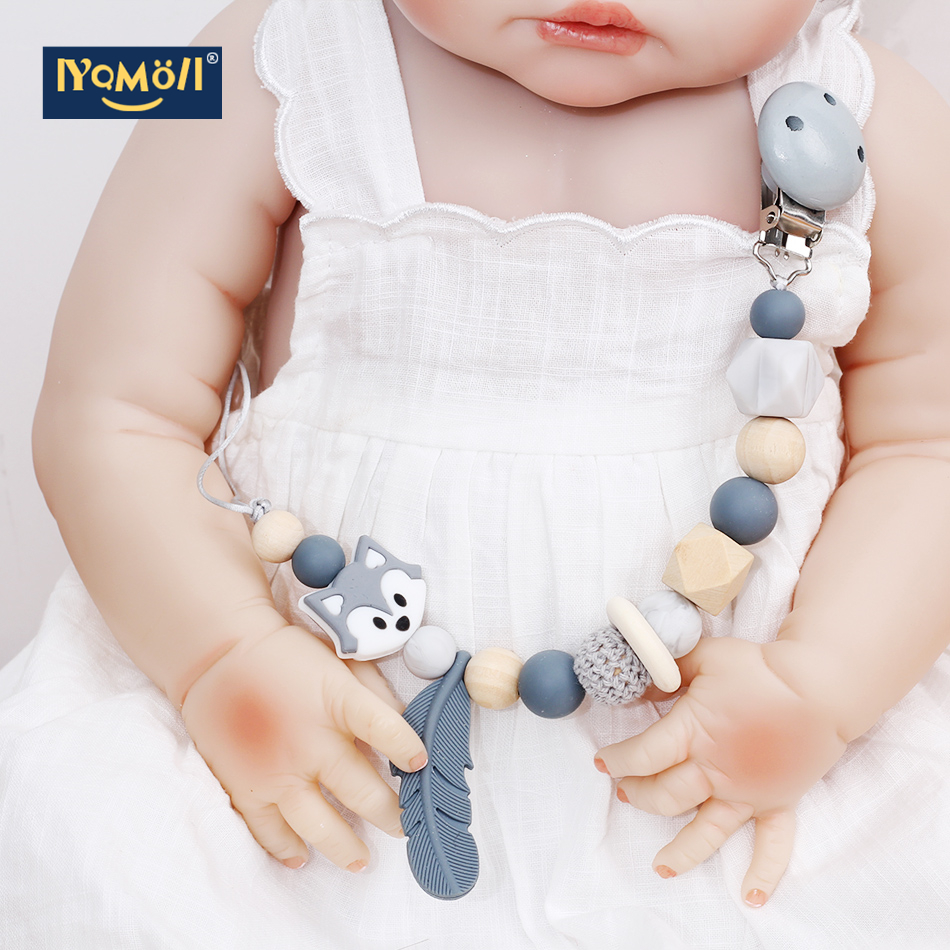 Baby Pacifier Clips  Silicone Beads Attache Tetine Chain Baby Dummy Toy For Kid Baby Dummy Clip Mam Pacifiers Soother Holder
