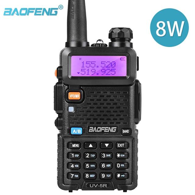 BaoFeng UV 5R iki yönlü radyo gerçek 8W 10KM 128CH çift bant VHF(136 174MHz)UHF(400 520MHz) amatör amatör el telsizi