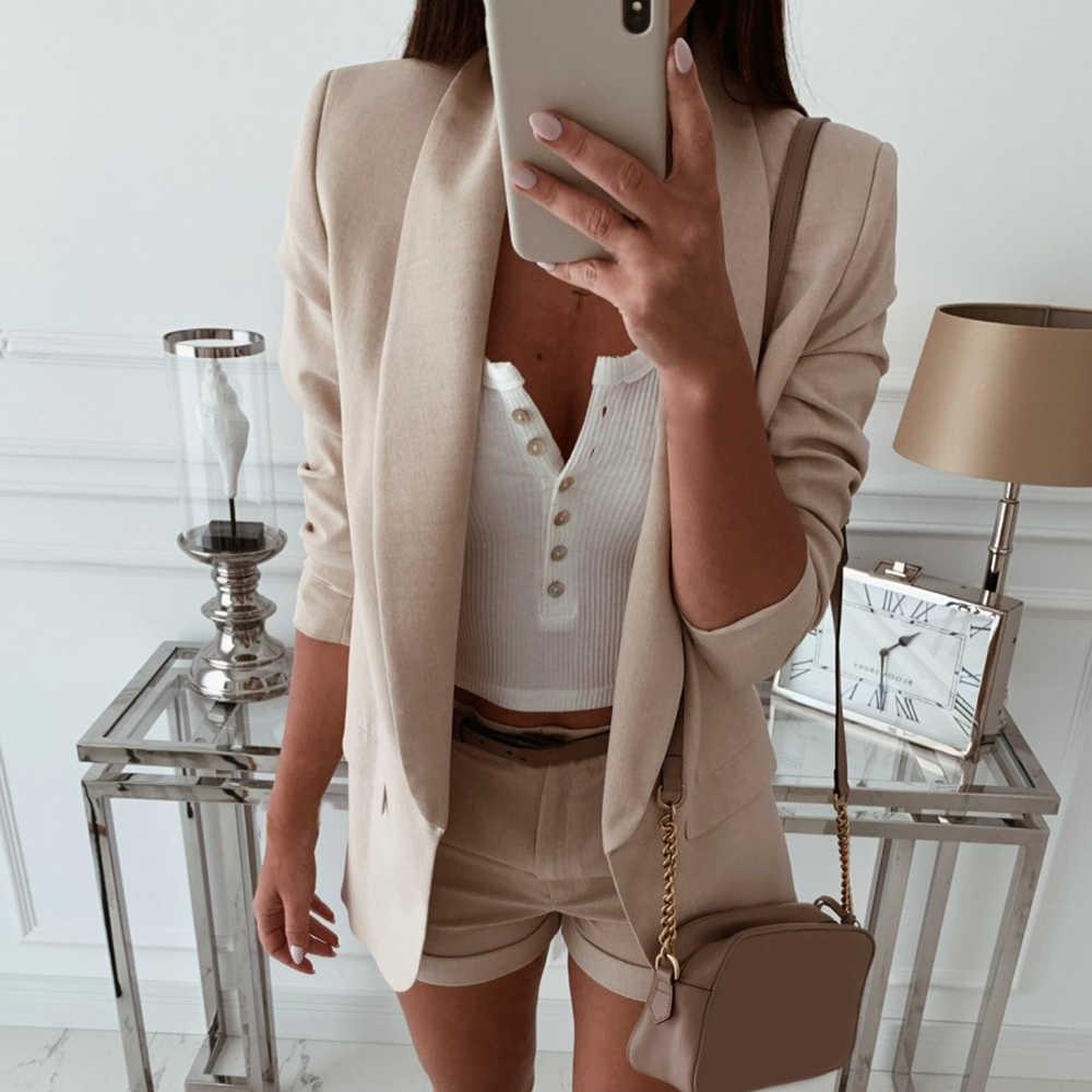 Litthing女性ターンダウン襟スーツ秋ラペルスリムフィットブレザージャケットレディースビジネスオフィスコートカーディガン上着トップス