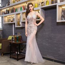 Fashion Sexy Deep V-neck Evening Dress Romantic Trailing Slim Banquet Model Costumes Beaded Backless Dresses Long