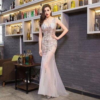 Fashion Sexy Deep V-neck Evening Dress Romantic Trailing Slim Banquet Dress Model Costumes Beaded Backless Evening Dresses Long фото