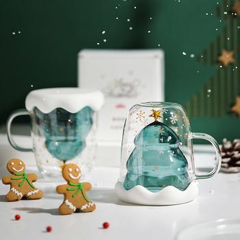 Choinka szklany kubek kubki do kawy picie izolacji szklanka z podwójną ścianką kreatywny festiwal prezent dla przyjaciela Kid Drinkware tanie i dobre opinie Houkiper ROUND Szkło Other Ekologiczne Double-Layer Glass Christmas Tree Star Water Cup