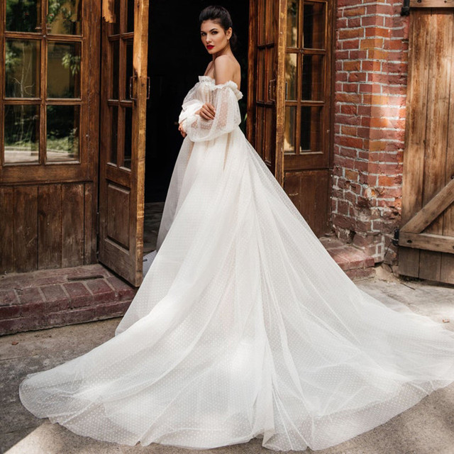 Lace Light Wedding Dress платья Bride Gown Vestido De Novia Robe De Mariage Vestidos Sweetheart Collar Off Shoulder Long Sleeves 4