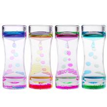 BESTOMZ 2pcs Single Colors Oil Hourglass Liquid Motion Bubble Timer with Pretty Waist Desk Decor Birthday Gift Children Toy