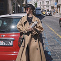 Mode Koreanischen Stil Übergroßen frauen Graben Mantel Doppel-Breasted Lange mit Gürtel Büro Dame Windjacke Frühling Herbst Mantel