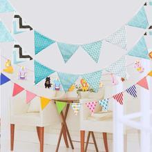 33 estilos 3,2 m moda algodón tela banderín de barba banderas pancarta guirnalda Vintage bebé cumpleaños Banner fiesta Festival Decoración