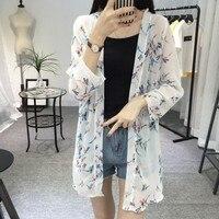 Shirt Frauen Lange Jacke Lose Bluse Strand Stilvolle Casual Langarm Strickjacke Chiffon Vögel Gedruckt Oberbekleidung