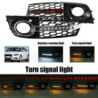 For Audi A4 B8 2009 2011 Car Led Turn Signal Light Daytime Running light With Flowing Honeycomb Mesh Fog Light Open Vent Grilles