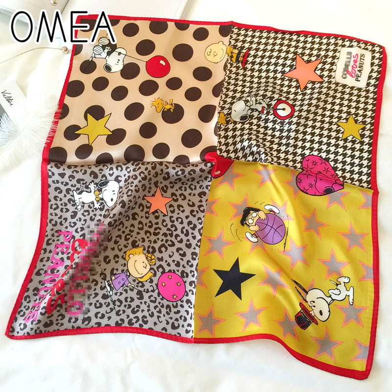OMEA 100% Real Silk Scarf Square Cute Dog Cartoon Silk Scarf Women Spot Leopard Plaid Scarf Satin Neckerchief Head Scarf Luxury