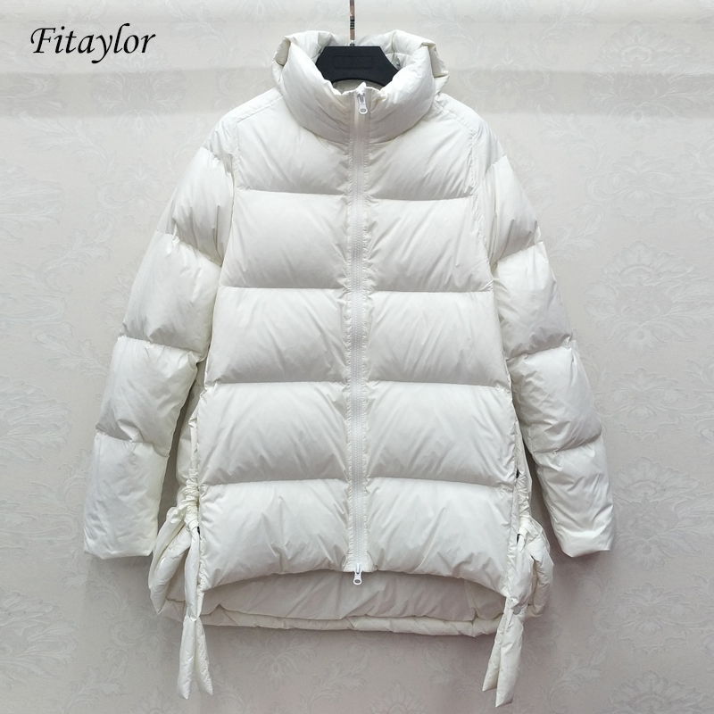 Fitaylor New Winter Turtleneck Ultra Light Down Jacket Women Slim White Duck Down Coat Parkas Female Warm Parkas Loose Outwear