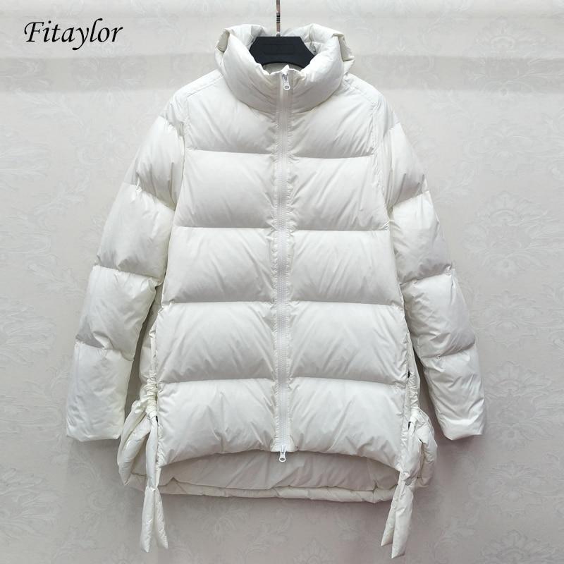 Fitaylor New Winter Turtleneck Ultra Light   Down   Jacket Women Slim White Duck   Down     Coat   Parkas Female Warm Parkas Loose Outwear