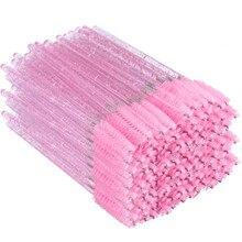 300Pcs Shiny Pink Disposable Micro Eyelash Brushes Crystal M