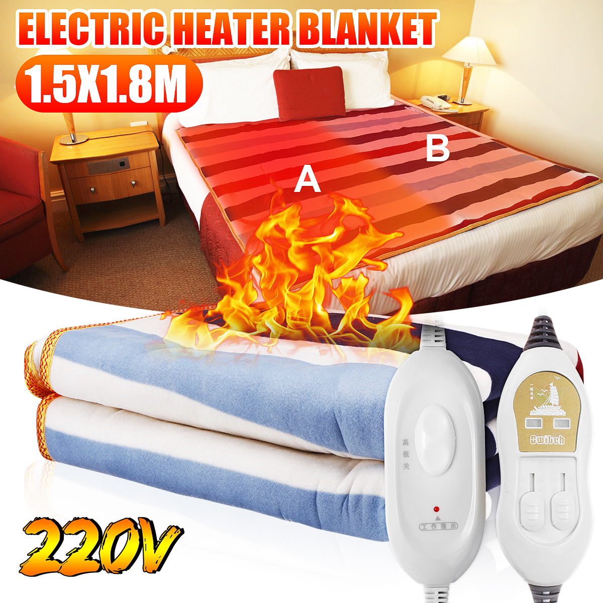 220V 3 Size Automatic Electric Heating Thermostat Throw Blanket Double Body Warmer Bed Mattress Electric Heated Carpets Mat