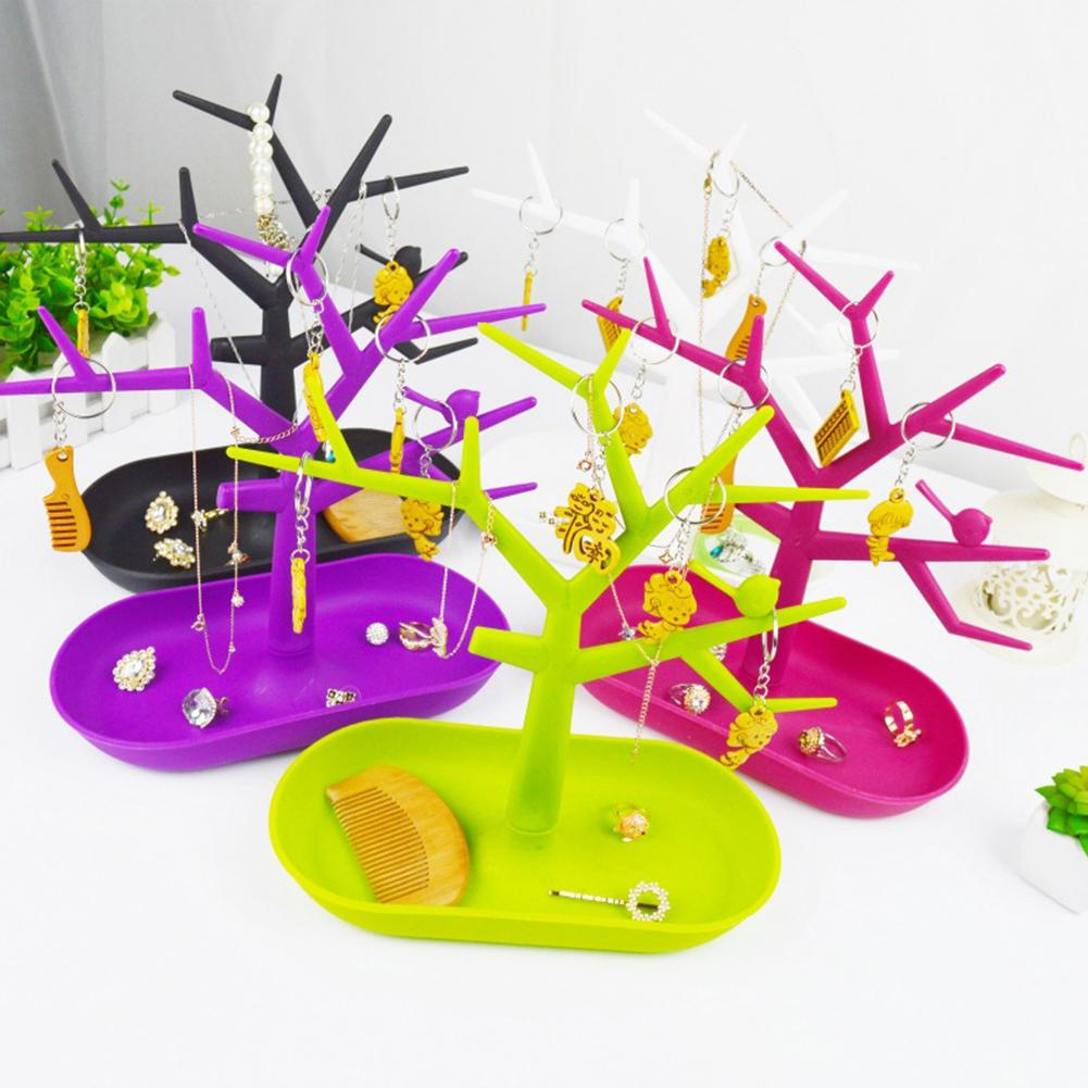 Tree Shape Plastic Jewelry Rack Necklace Bracelet Earrings Holder Jewelry Display Srorage Racks Jewelry Organizer Racks