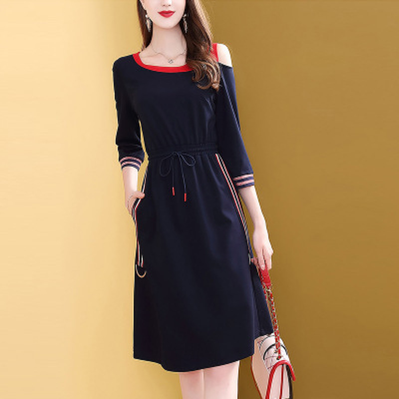Hc6c6d1df59c94cee9ee80653ddc3dc03x - Fashion New Drawstring Dress Women Elegant Slim Three Quarter Sleeve Casual Dress Korean Style A-Line Female Knee-Length Dress