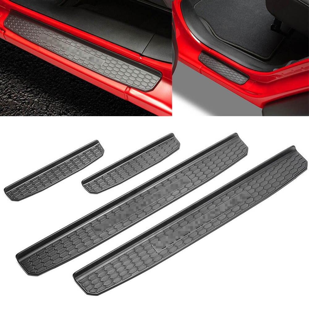 4 шт. Автомобильный Дверной порог Входная Защитная крышка порога Накладка наклейка для Jeep Wrangler JL 4 двери 2018 2019 авто аксессуары