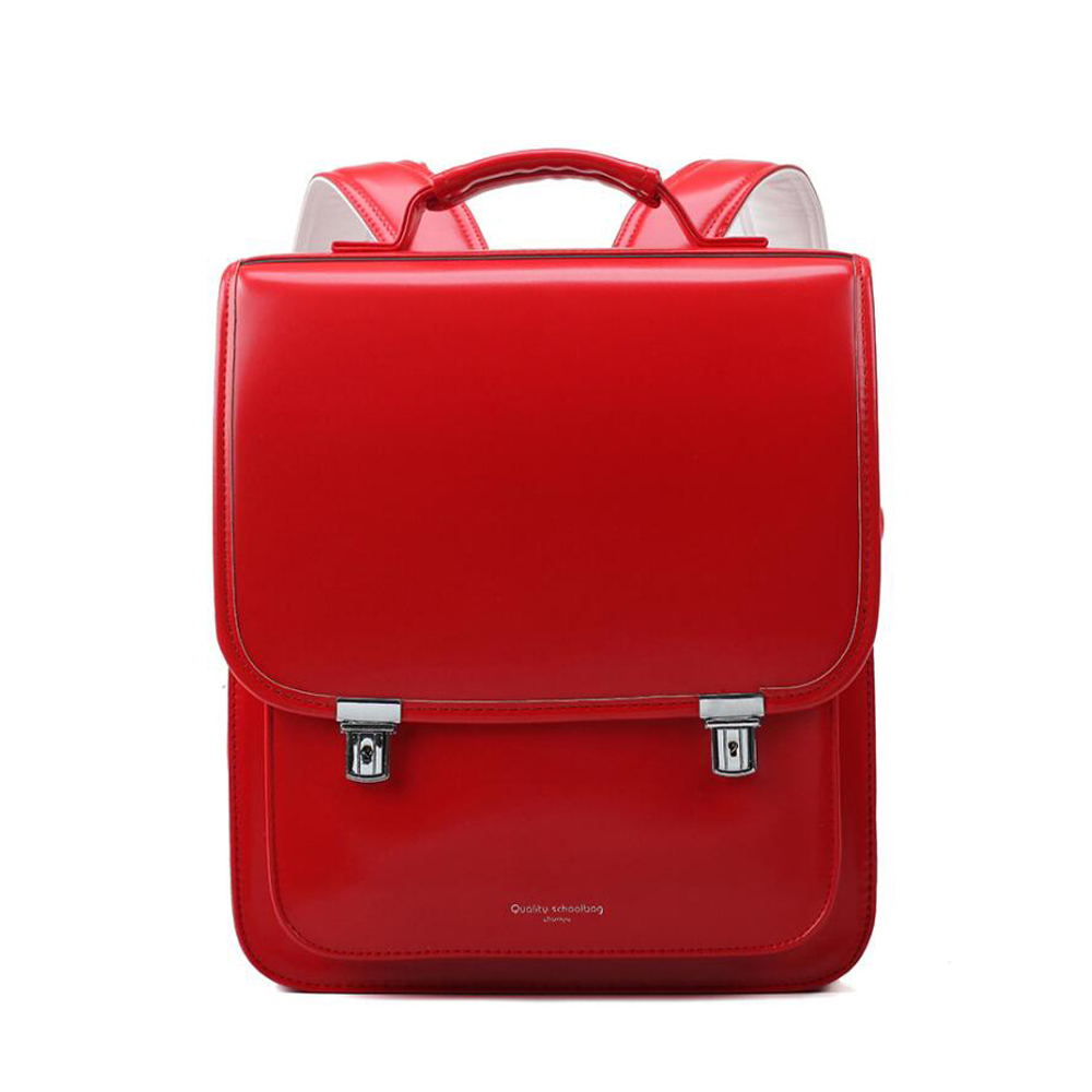 Japan School Bag For Kid Orthopedic Backpack Children School Students Bookbags PU Randoseru Metal Buckle Solid Color School Bags