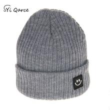 SYi Qarce зимняя очень теплая вязаная шапка, детский вязаный свитер со смайликом, модная шапка Skullies Beanies для мальчиков и девочек