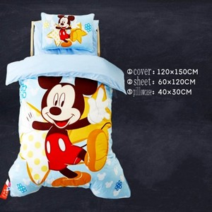 Image 1 - Disney Cartoon Minnie Mickey Bedding Set for Baby Crib Bed 3Pcs Duvet Cover Bedsheet Pillowcases for Baby Boys Girls 0.6m Bed