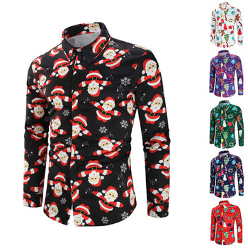 Fashion Shirts For Male Men Casual Snowflakes Santa Candy Printed Christmas Shirt Top Blouse Mens Clothing Chemise Homme