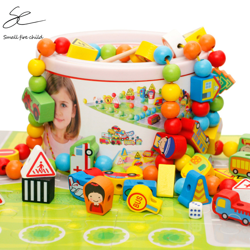 82pcs Wooden Building Blocks Car Shape Beads DIY Wood Beads Children's Toys Wood Block Game Chess Early Training Montessori Gift