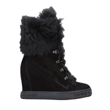Winter Boot Wedge Lace-Up Inner Suede Black Woman Fur Ankle 8CM Wool Design Brand