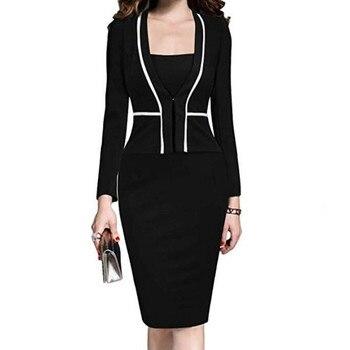 Women Dress Suit Jacket Bodycon Ladies Office Formal Business Work Wear Elegant Midi Pencil Dresses Vintage Clothes Plus Size