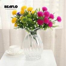 1 букет свежих искусственных цветов Поддельные DIY мяч Маргаритка цветок Шелковый Цветочный для свадебной вечеринки украшения дома