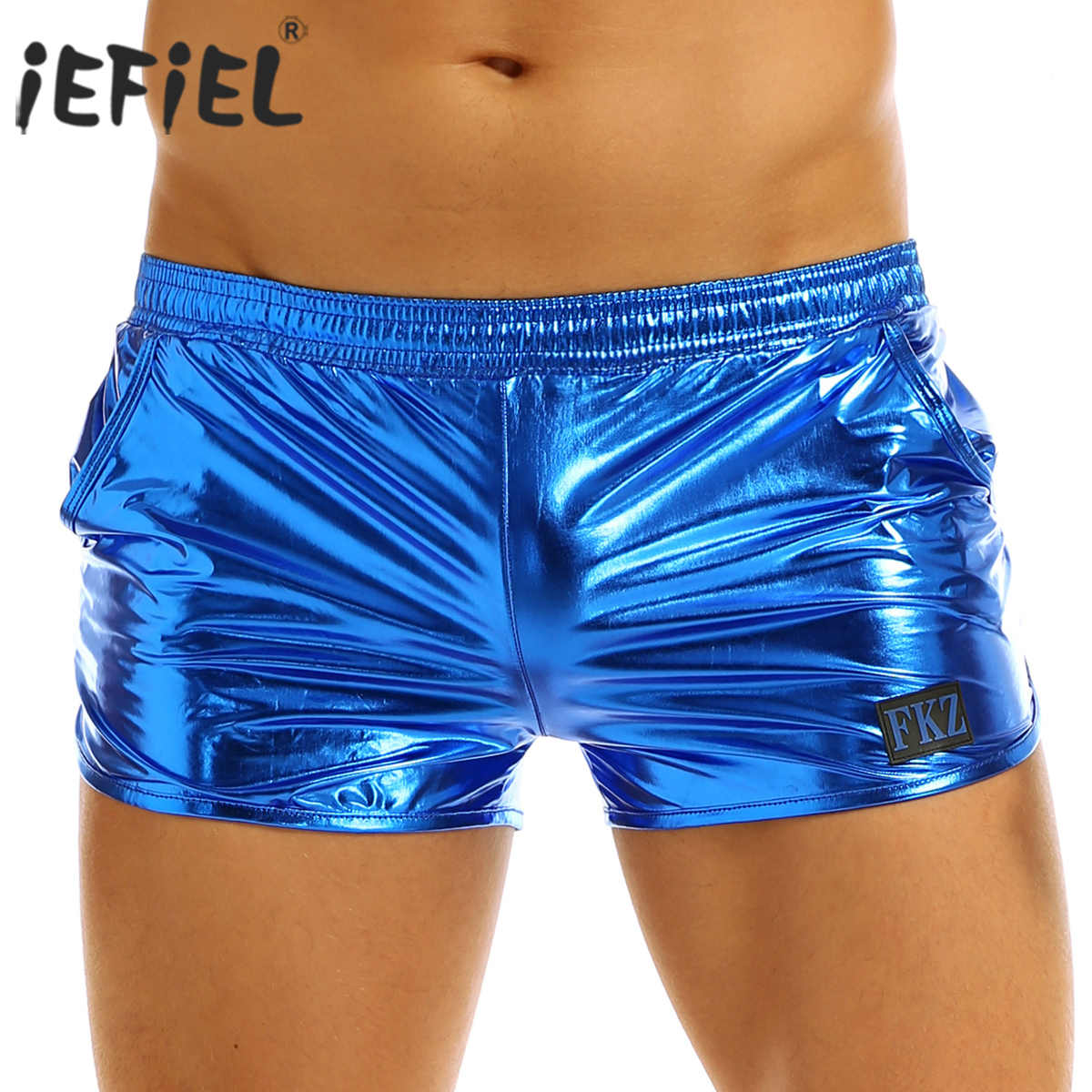 iEFiEL Mens Shiny Metallic Night Club Party Jockstraps Shorts Elastic Waistban Boxer Shorts Performance Clubwear Costume Trunks
