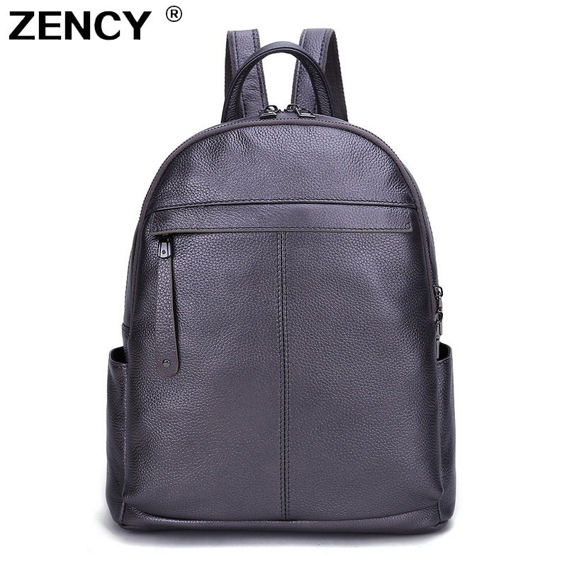 2020 NEW ZENCY 100% Genuine Cow Leather Women Backpack First Layer Cowhide White Silve Gray Backpacks Travel School Shopping Bag