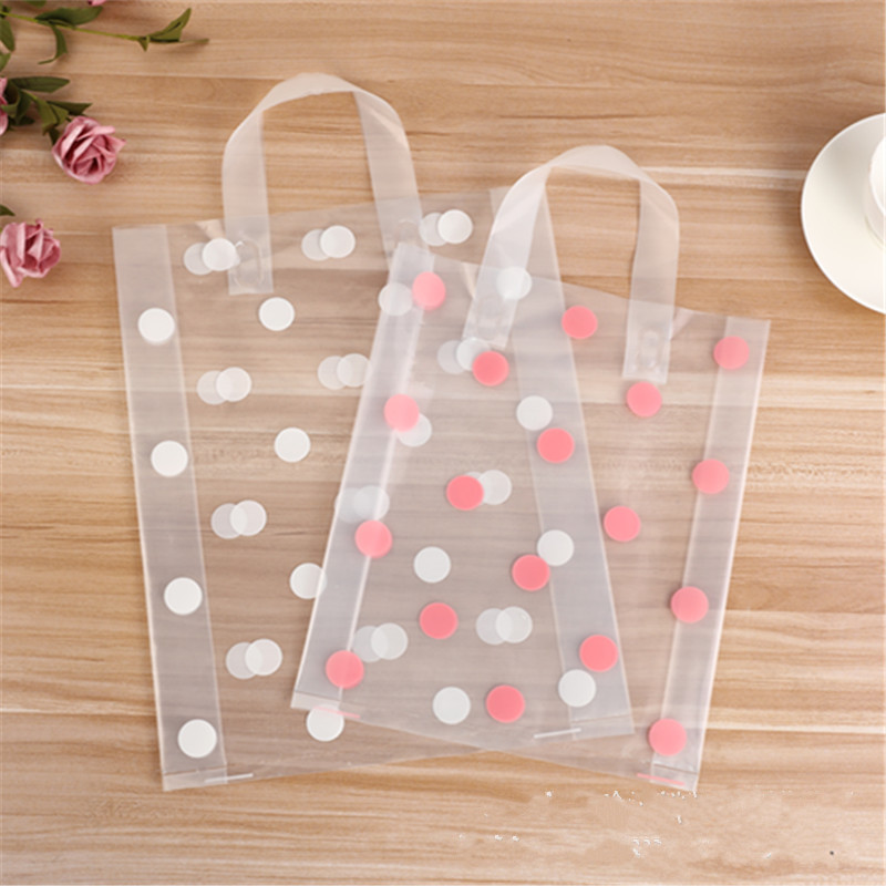 50pcs 25x33cm Clothing Plastic carry bag Gift Shopping Bags Party Favor Thicken Wedding  Handle Bag Make up Gift Bags Packaging