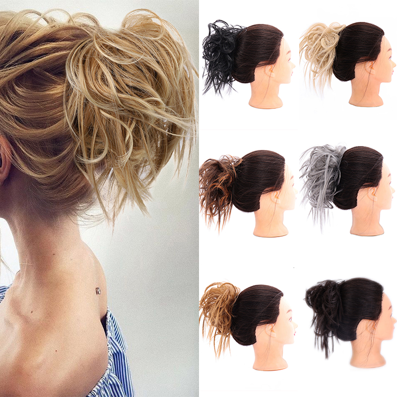 LUPU Synthetic Chignon Messy Scrunchies Hair Bun Elastic Band Natural Fake Hair Pieces Heat Resistant Fiber For Women