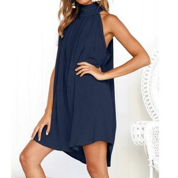 Turtleneck Dress Above Knee Solid Color Irregular Dress Ladies Summer Beach Style Sleeveless Party Sundress Loose Bohemian Robe 3