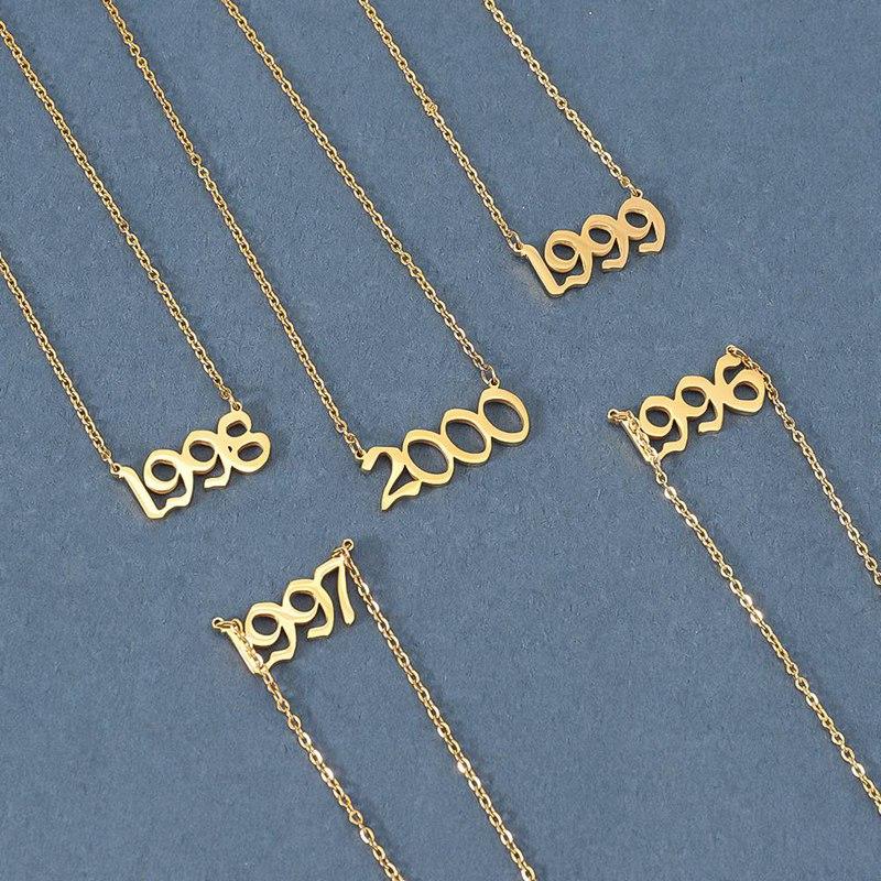 Персонализированные Старый английский номер ожерелья Женские пользовательские ювелирные изделия 1991 1992 1993 1994 1995 1996 1997 1998 1999 подарок на день ...