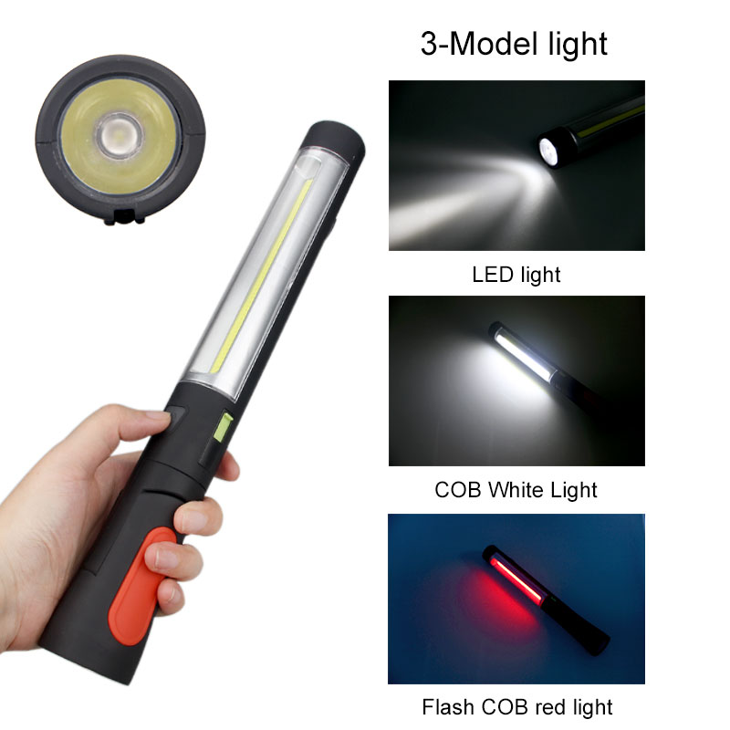 3 Mode COB LED Car Garage Work Inspection Light Camping Lamp Outdoor USB Rechargeable Flashlight Magnetic Base & Hook