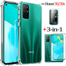 3-in-1capa, glass + airbag case for honor 30s huawei honor-30 soft clear anti-shock phone cases cover honor30s case honor 30 s