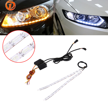 POSSBAY impermeable coche DRL luz de circulación diurna LED faro señal de giro lámpara tira automática Flexible intermitente