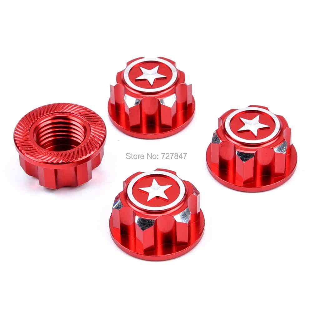 Rojo Fanuse 4 Piezas de Aluminio de 17 Mm Tuercas Hexagonales de Rueda a Prueba de Polvo Antideslizante para Summit E-Revo Arrma 1//8 RC Car