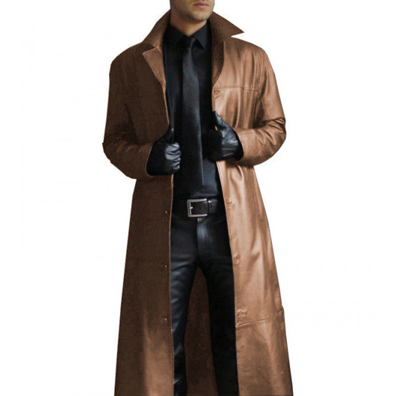 Mens Casual Long Sleeve PU Leather Overcoat Tops Loose Button Outwear Jacket