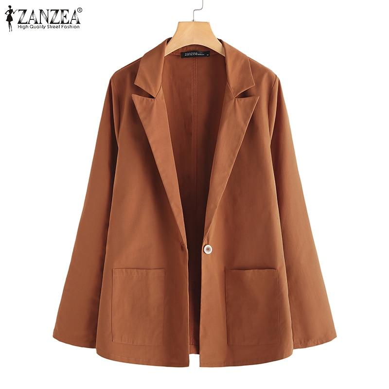 Blazers Women Spring Autumn Blazer ZANZEA Plus Size Female Casual Solid Outwear Long Sleeve Lady Work Blazers Thicken Overcoat 7