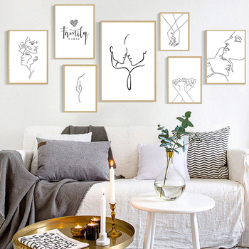 Modern Abstract Art Picture Home Decor Nordic Canvas Painting Wall Figure Line Drawing Posters and Prints for Living Room - discount item  53% OFF Home Decor