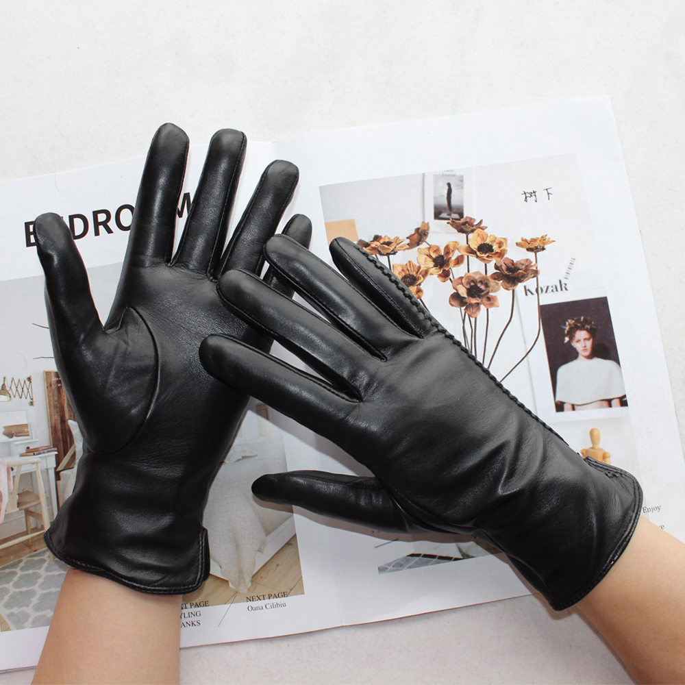 Bickmods New Women's High-Quality Leather Gloves Two Styles Black Short Imported Sheepskin Gloves Keep Warm In Winter