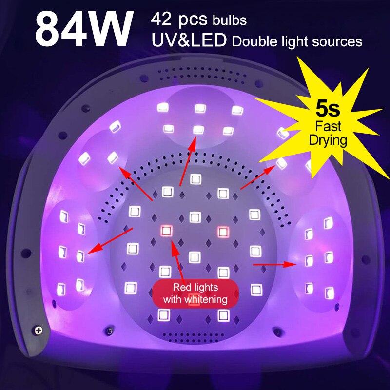 84W UV nail Lamp gel Polish 30 LED Light 5S 30S 60S Drying Fingernail Toenail Fast cure led light lamp machine