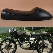 Faux leather moto Flat Brat Sponge silla Vintage Cafe Racer asiento para h-onda CB200 CB350 CB400 accesorios de motocicleta 2019